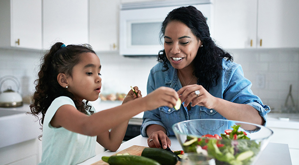Let your child help prepare a meal.