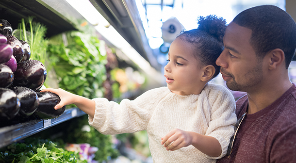 Shop for healthy foods with your child.